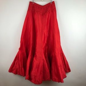 Free People One Party Mermaid Red Satin Skirt